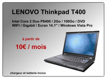 PC portable Lenovo T400 à 10€ par mois