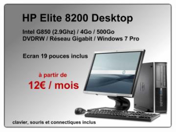 PC HP Elite 8200 avec écran plat 19 pouces à 12€ / mois