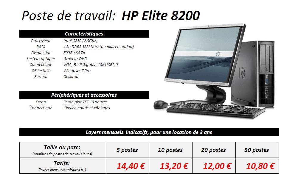 Fiche technique fixe HP Elite 8200