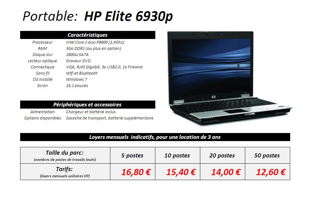 Fiche technique portable HP Elite 6930p