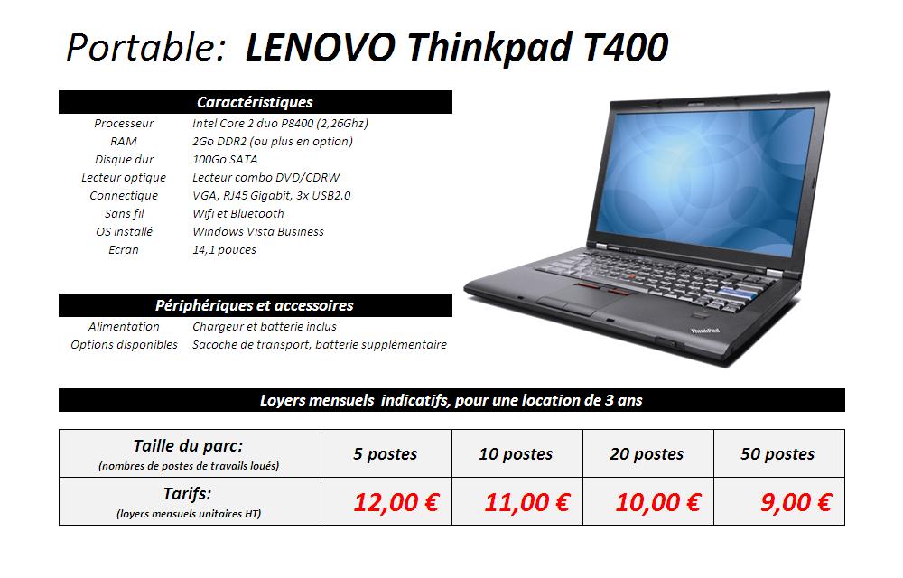 Fiche technique portable Lenovo T400